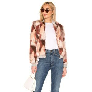 Chaser Faux Fur Bomber Jacket in Pink Calico